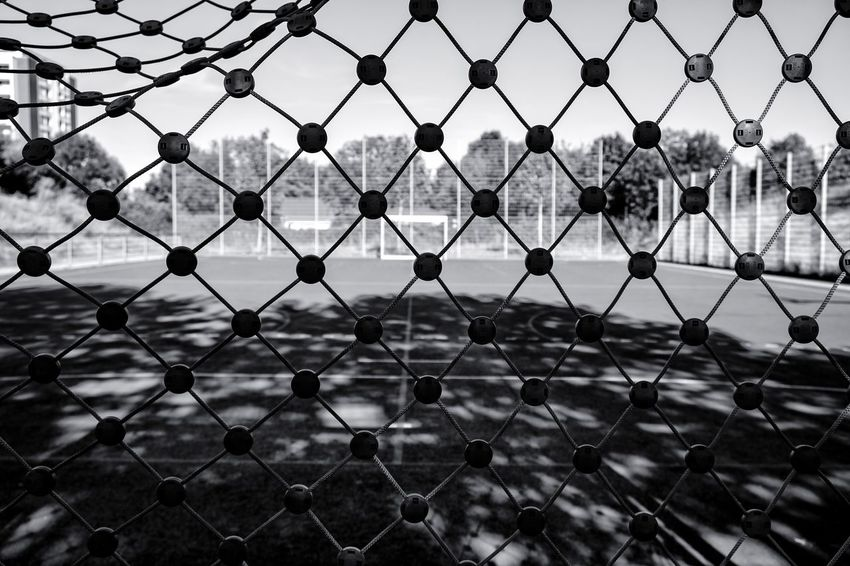 Hintertorkamera ... Urban Perspectives Summer In The City Black & White Street Photography The Devil's In The Detail Monochrome Urban Photography On The Way City Sport Playing Field Protection Competition Clear Sky Metal