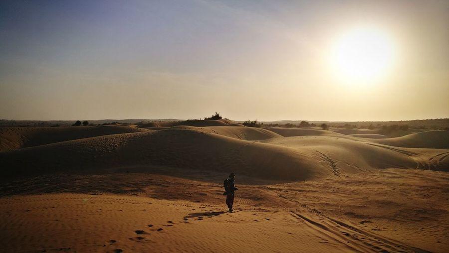 Sunset Sand Dune Desert Sand Standing Full Length Landscape FootPrint Silhouette Sun