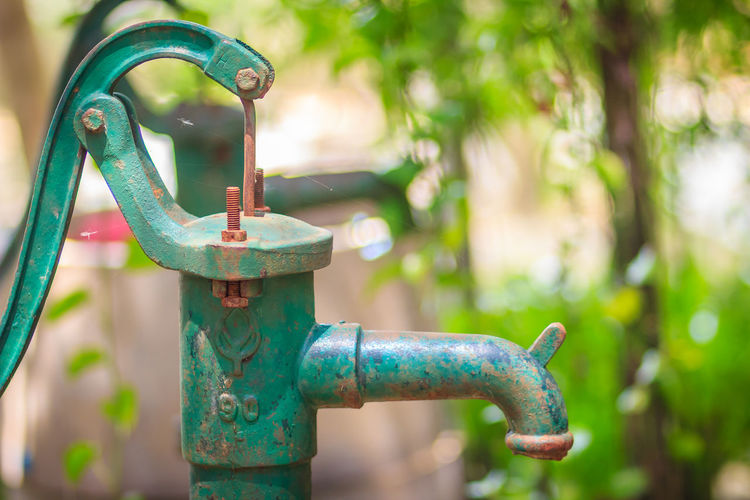 Close-up of old water pump