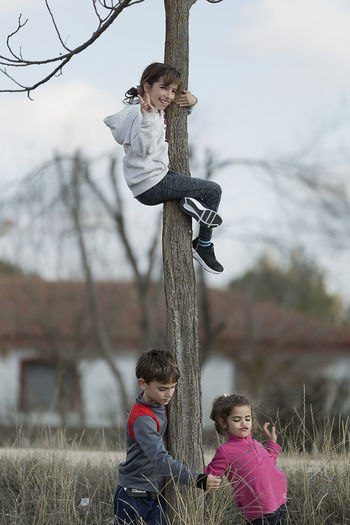 10-year-old girl climbed on a tree and her cousins down. Vertical shot with natural light Boys Casual Clothing Childhood Day Friendship Full Length Girls Leisure Activity Lifestyles Outdoors Real People Togetherness