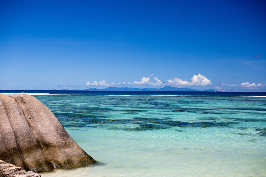 La Digue Anse Lazio Anse Source D'argent Beach Beauty In Nature Blue Clear Sky Day Horizon Over Water Idyllic Landscape Mahé Nature No People Outdoors Praslin Seychelles Sand Scenics Sea Sky Tranquil Scene Tranquility Travel Destinations Vacations Water
