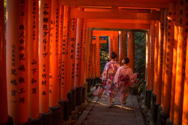 ASIA Asian Culture Asiangirl Fushimi Inari Shrine Japan Japanese Culture Kimono Nara,Japan Shrine Tradition Traditional Clothing Traditional Clothing Two People