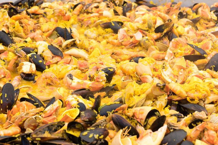 Full frame shot of yellow autumn leaves in water