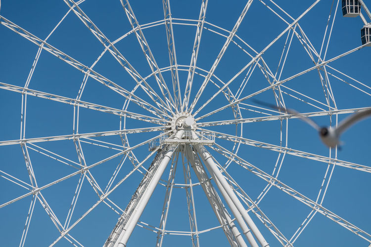 Full frame shot of ferris wheel against clear blue sky