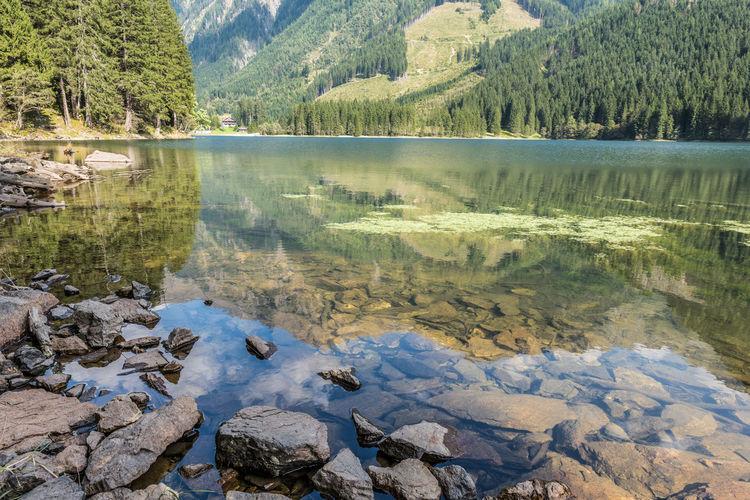 Bäume Erholung Grund Hänge Keine Menschen Natur Reise Ruhe Schladminger Tauern See Steiermark Steine Ufer Urlaub Wandern Wasser Österreich