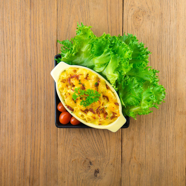 macaroni and cheese homemade food Close-up Day Directly Above Egg Food Food And Drink Freshness Green Color Healthy Eating High Angle View Indoors  Lettuce Meal No People Ready-to-eat Snack Table Vegetable Wood - Material