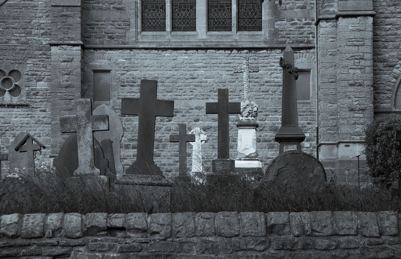 Architecture Brick Wall Building Exterior Built Structure Church Cross Day Graves Gravestone Gravestones Graveyard Graveyard Beauty Historic No People Outdoors