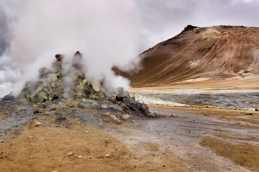 Geology Smoke - Physical Structure Physical Geography Nature Sky Landscape Erupting Emitting Scenics No People Beauty In Nature Mountain Smoke Lavafield Myvatn Iceland Nature Rock Formation Hverir Geothermal Activity Geothermal Area