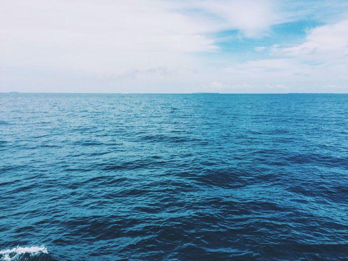 Sea Seascape Sea And Sky Blue Horizon Shore