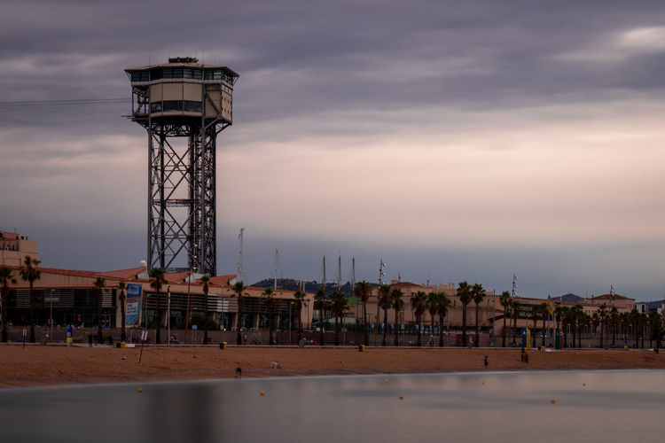 Architecture Sky Built Structure Water Cloud - Sky Building Exterior Tower Sunset Nature Sea No People Dusk Outdoors Technology Water Tower - Storage Tank Waterfront Tall - High Building Industry Barcelona Barceloneta Beach Plage Playa
