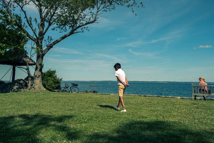 Dejected Boy Golfer Golf Course Sportsman Golf Golf Club Full Length Sport Golf Swing Men Tree