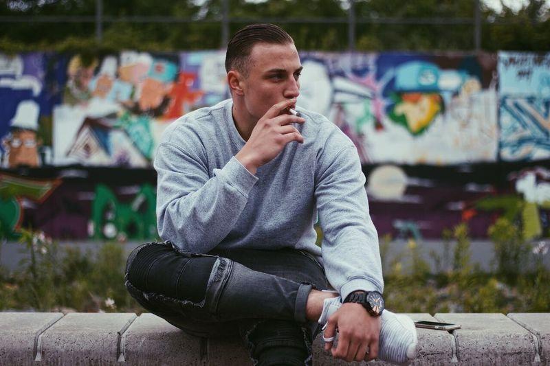 One Person Outdoors Graffiti Fashion Smoking Portrait Colorful