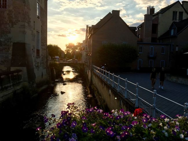 A holiday feeling while staring at 'de Geul' in Valkenburg (Netherlands-Limburg). Valkenburg River Building Exterior Sky Sunset Water Outdoors