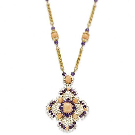 A CORAL, AMETHYST AND DIAMOND 'IBIZA' SAUTOIR BY VAN CLEEF & ARPELS. Formerly owned by Elizabeth Taylor. Jewellery Jewelry Instagramania Instagram Instapod Elégance Popular Mücevher Moda Fashioninsta Fashion Fashionable Instaturk Instajewelery Instagramturkey