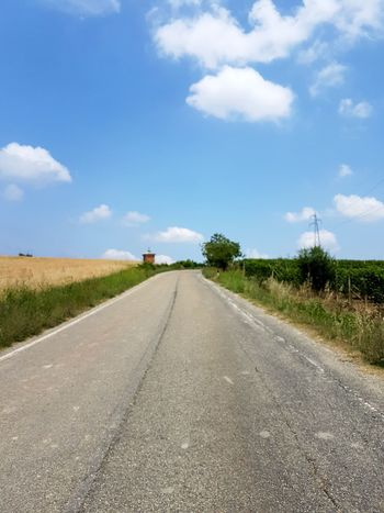 Road The Way Forward Sky Cloud - Sky Diminishing Perspective Day Outdoors Landscape Sunny Blue Grass Nature Travel Destinations No People Beauty In Nature Tree Scenics Piedmont Italy Langhe Summer