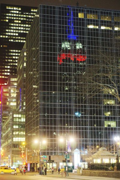 Last night, the bright street lights and the reflection of the Empire State Building's red, white, and blue LED's captured my attention...and I photographed the scene. NYC Photography Photoproject Reflections Empire State Building Presidentsday 365 Night Photography