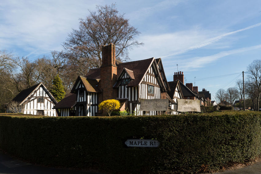 Selly Oak Manor shot from the road Shot From The Tudor House Tudor Manor House Hedge Privat Sunny Day Summer