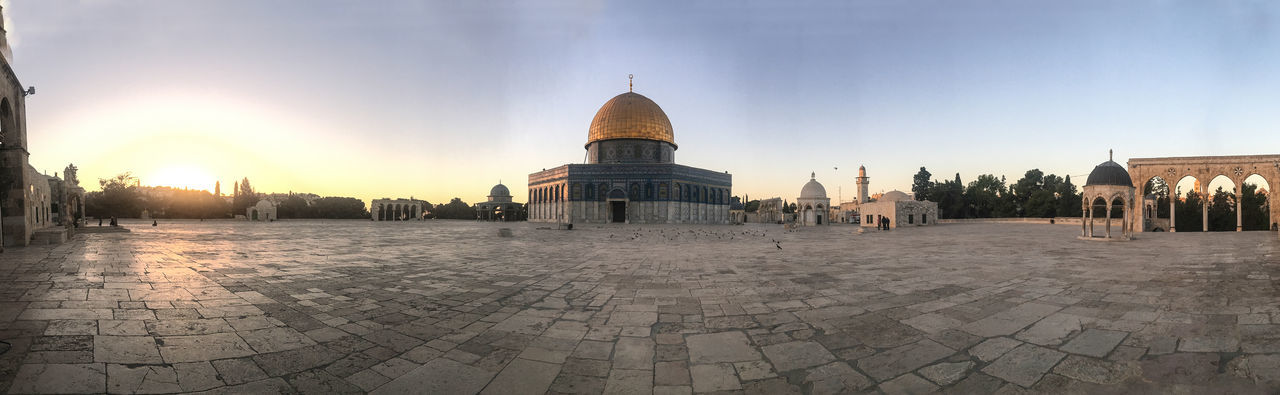 A panoramic view of the Dome of the Rock shrine in Jerusalem. Building Exterior Dome Dome Of The Rock Golden History Islam Middle East Palestine Panorama Panoramic Place Of Worship Rock Tourism Tranquility