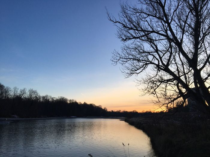 Sonnenuntergang an der Isar am Flaucher River Isar Sky Tree Water Tranquility Scenics - Nature Beauty In Nature Sunset Tranquil Scene Lake Nature Silhouette Reflection Clear Sky Idyllic Outdoors