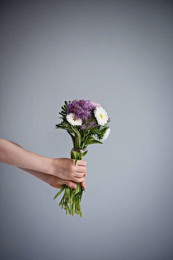 Flower Bouquet Bouquet Of Flowers Hand Hands Holding Human Body Part Human Hand Copy Space Gray Background Lifestyles Lifestyle Lifestyle Photography Flower Head Flowers_collection