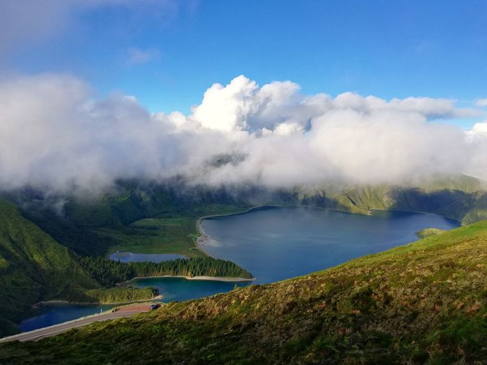 Paradis Landscape Sunlight Azores, S. Miguel Sky And Clouds Nature Laggon Mountain Peaceful Sunlight And Shadow Islandlife Water Tree Mountain Fog Lake Steam Nature Reserve Social Issues Sky Cloud - Sky