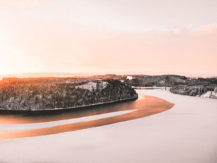 Scenics - Nature Sky Winter Nature Water No People Sunset Beauty In Nature Tree Tranquility Cold Temperature Tranquil Scene Snow Environment Plant Lake Non-urban Scene Idyllic Dji Dji Spark Spark Drone  Dronephotography Droneshot