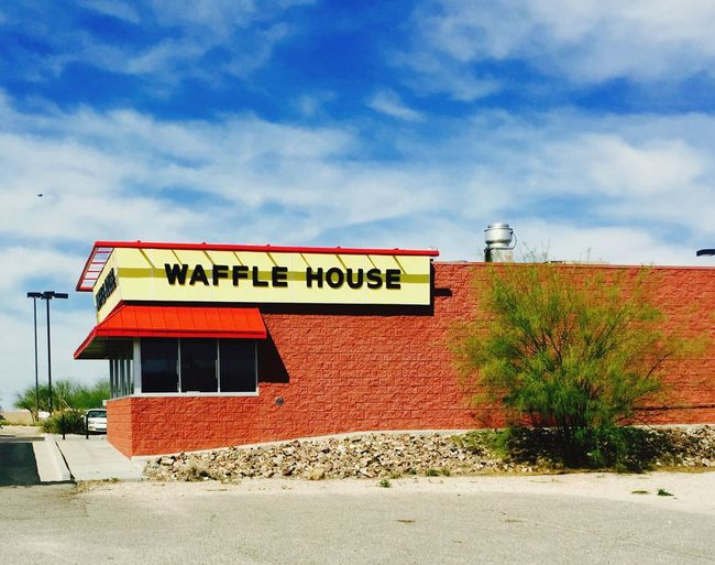 Building Exterior Wafflehouse waff Text Built Structure Sky Architecture Communication No People Outdoors Cloud - Sky Industry Day Waffle House