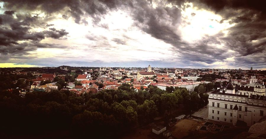 Vilnius Old Town from the King Mindaugas Tower Architecture Cloud - Sky Cityscape High Angle View Dramatic Sky