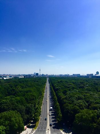 Berlin Siegessäule view Transportation Sky Road Day Mode Of Transport Outdoors High Angle View The Way Forward Green Color Blue Tree Cloud - Sky No People Architecture Landscape