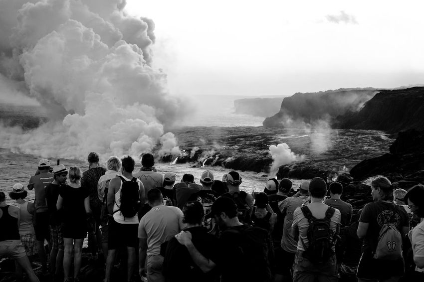 Large Group Of People Crowd People Sea Water Wave Outdoors Day Adult Nature Adults Only Sky Travel Scenics Monochrome USA Travel Destinations Landscape Black And White Friday Vulcano Hawaii Bigislandhawaii Tourist Attraction  National Park Black And White Friday EyeEmNewHere Be. Ready. An Eye For Travel The Street Photographer - 2018 EyeEm Awards The Traveler - 2018 EyeEm Awards