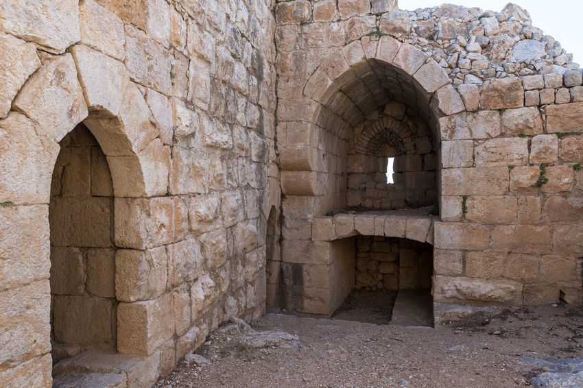 Lower tier in Nimrod Fortress located in Upper Galilee in northern Israel on the border with Lebanon. History Israel Nimrod Fortress Castle Border Stone Material Wall - Building Feature Saladin Beybars Crusaders Ayubids Mamluks Assassins Tower Heritage Travel Destinations National Park Hill Old Ancient Architecture Medieval Ruin Protection Fort Gate