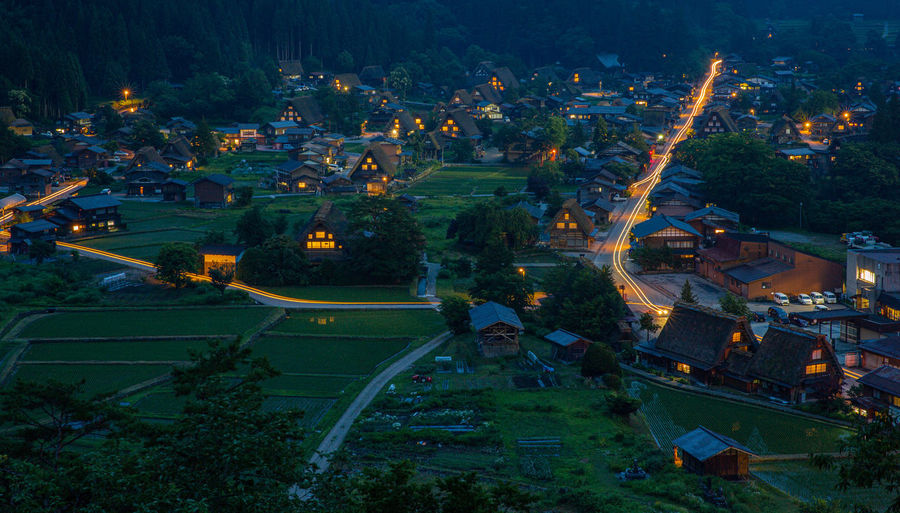 Architecture Built Structure Building Exterior High Angle View Landscape Plant Nature Building No People Environment Tree City Illuminated Outdoors Field Residential District Scenics - Nature Night Rural Scene Land Shirakawa-go Historic Village UNESCO World Heritage Site Japan Light Trail Evening Lights