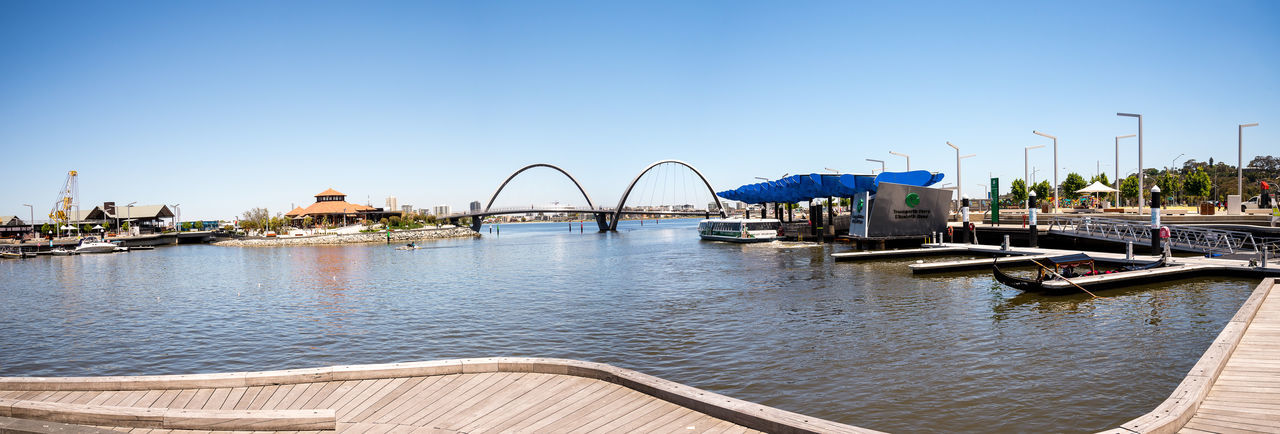 Panorama of Elizabeth Quay with Bridge and Jetty in Perth City, Western Australia Architecture Australia Center City Downtown Elizabeth Gondola Panorama Perth Pier Tourist WesternAustralia Arch Attraction Blue Bridge Clear Sky Jetty Pedestrian Quay River Swan Transperth Walking Waterfront