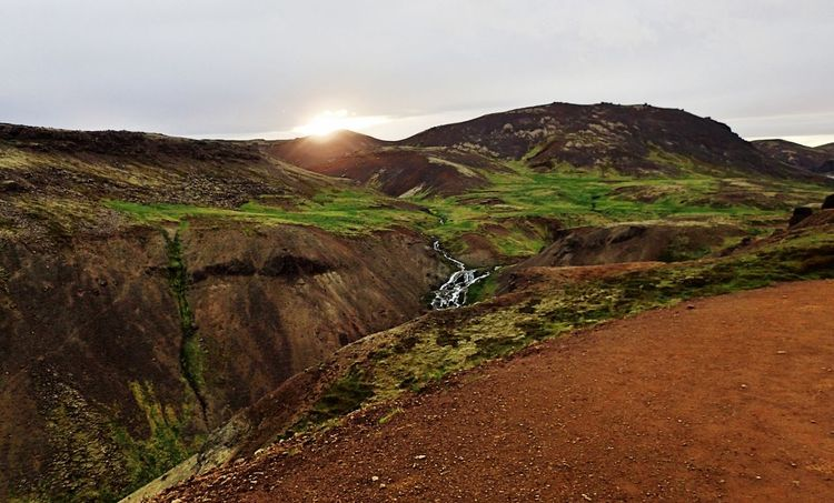 Hiking Iceland Beauty In Nature Eternal Daylight Landscape Mountain Nature No People Outdoors Scenics Sky Sunset Sunrise Tranquil Scene Tranquility Waterfall