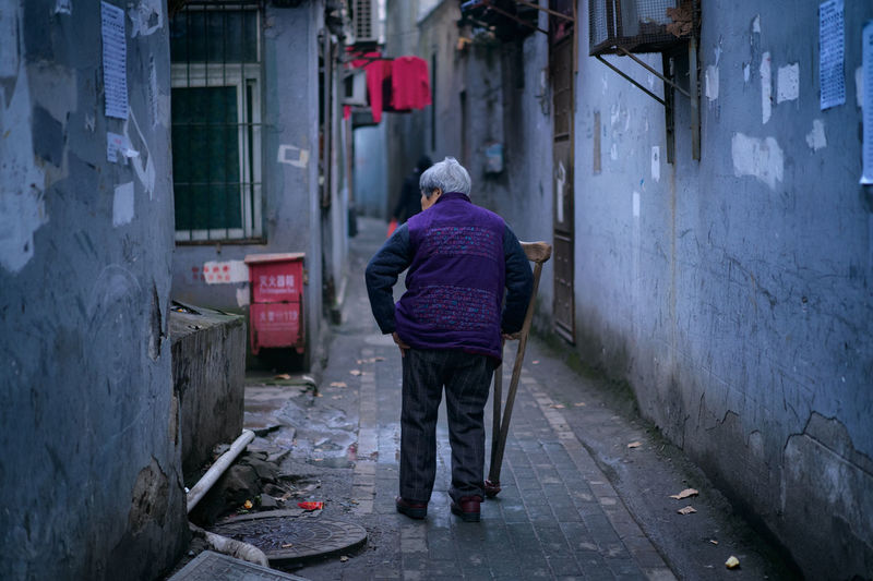 Old Woman Woman Warm Clothing Working Full Length Women Manual Worker Rear View Architecture