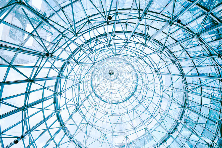 Blue Glass Ceiling Cone Skylight. Blue Skylight Glass Cone Circular Circles Circle Ceiling Architecture Concentric Geometry Pattern