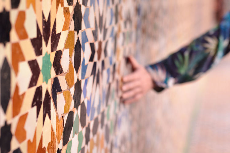Feeling the vibes of ancient mosaic walls in Marrakesh Caress Your Soul Colors Happiness Mosaic Mosaic Tiles Tourist Tourist Attraction  Woman Close-up Day Fell The Vibe Human Body Part Human Hand Lifestyles Morroco Mosaic Art Mosaic Pattern Mosaic Wall Multi Colored One Person Outdoors People Real People Touch The History Travel Destinations An Eye For Travel The Street Photographer - 2018 EyeEm Awards The Traveler - 2018 EyeEm Awards