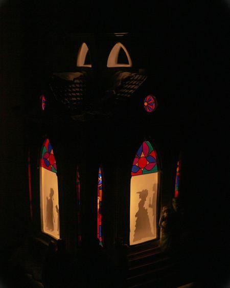Ornamental Church Dim Light Sillouette Christmas Decoration Ornaments No People Art And Craft Creativity Dark Illuminated Indoors  Multi Colored Human Representation Window Black Background Close-up Religion Belief Nature Craft
