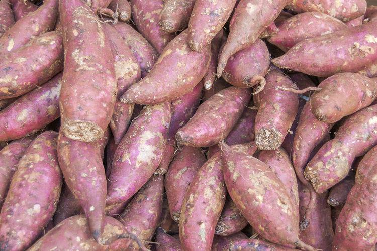 Full frame shot of sweet potatoes