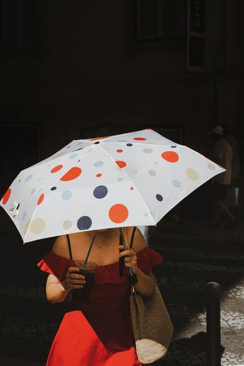Umbrella highlight red dress lady