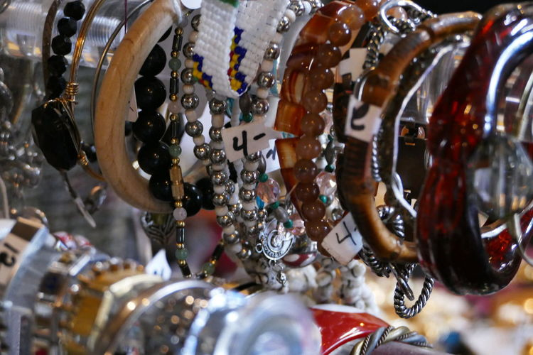 Close-up of bracelets for sale in store