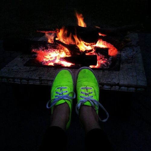 I like this one better! :) Vans_are_cool Vansoffthewall Fire Neon green yellow vans shoes orange yellow pretty colors autumn dark love warmth chilling backyard