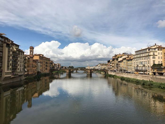 Florence Firenze Ponte Arno  Arno River Clouds Fiume Arno