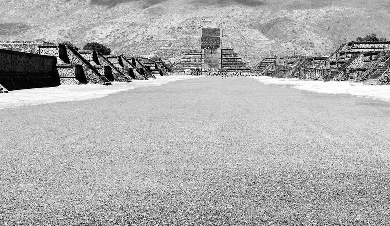 The Way of the Dead was what they called the road that led to the Pyramids in Mexico Mexico Pyramids Way Of The Dead Ancient Civilization Ancient Structure Architecture Black And White Photography Day Historic Nature No People Outdoors Teotihuacan