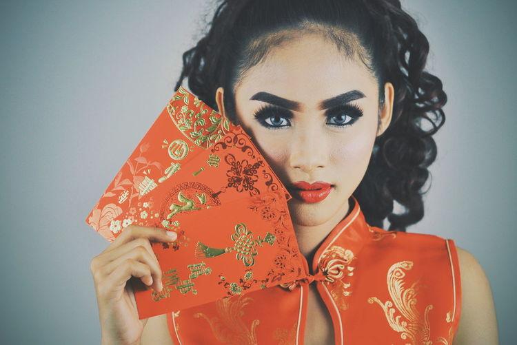 Karsono EyeEm Selects EyeEm Best Shots Girl Chinese New Year Chinese Culture China Beauty Chinese Girl Portrait Beautiful Woman Beauty Studio Shot Young Women Looking At Camera Human Face Fashion Model Headshot Close-up Ceremonial Make-up Women's Issues Eye Make-up Red Lipstick Lipstick International Women's Day 2019