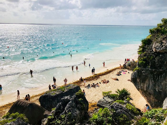 Pardise Sea Water Group Of People Large Group Of People Sky Crowd Land Beach Nature Horizon Lifestyles Outdoors Trip Holiday Vacations Cloud - Sky Real People Enjoyment Horizon Over Water Leisure Activity