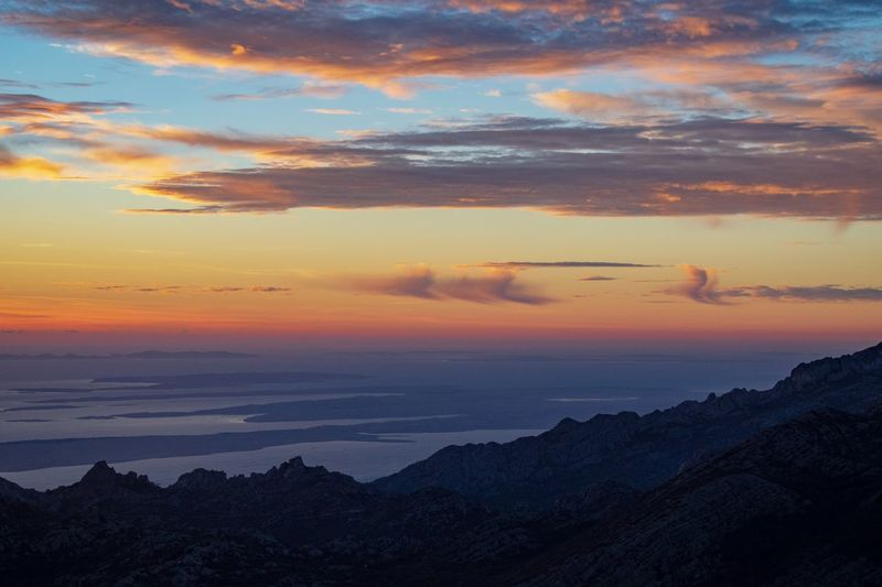 Magical place Nature Nature Photography Croatia Wilderness Clouds And Sky Golden Hour Mountain Sunset Multi Colored Beach Beauty Horizon Over Water Mountain Peak Seascape Alpine