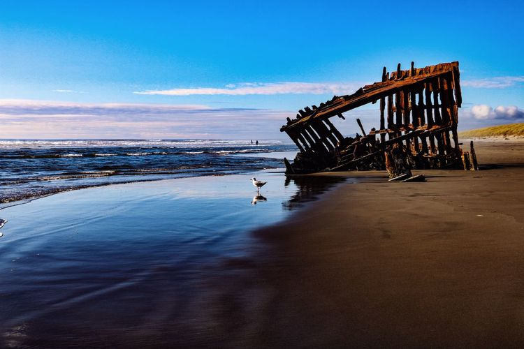 Fort Stevens State Park Water Sky Sea Nature Beach No People Shipwreck Scenics - Nature Tranquility Beauty In Nature Tranquil Scene Outdoors