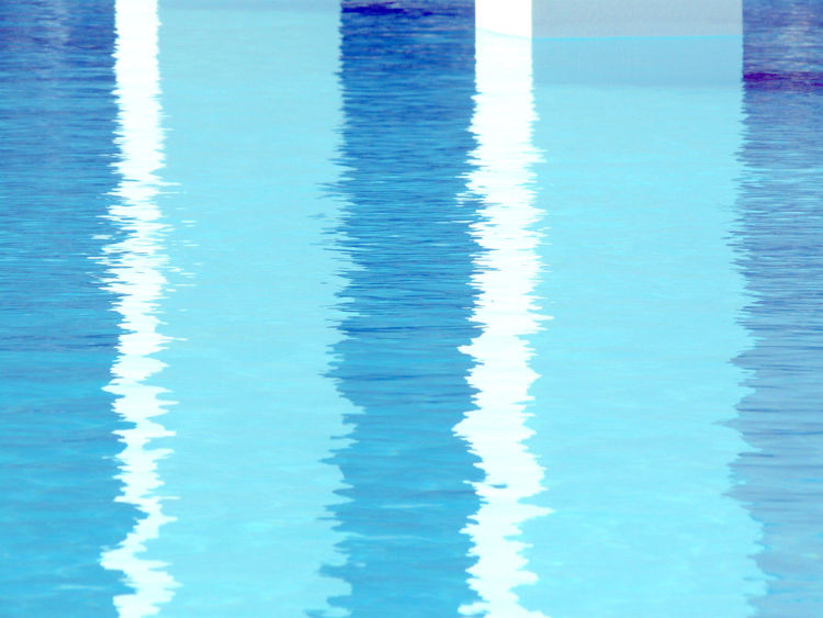 Reflection in the Pool Blue Blue And White Blue Water Color Palette Colors Day Eyeemphoto Full Frame No People Photography Photooftheday Pillars Pool Reflection Reflection Reflections Tranquil Scene Tranquility Water Water Reflections Water Surface Waterfront White