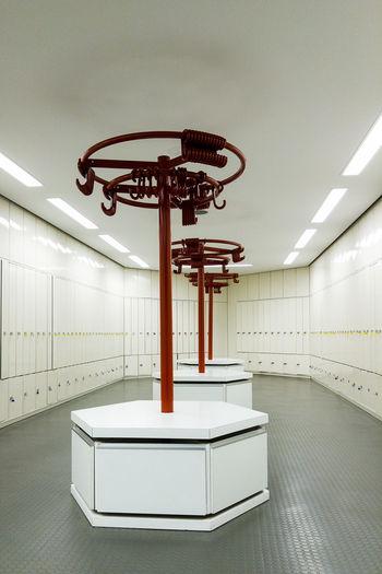 Coat hangers in locker room